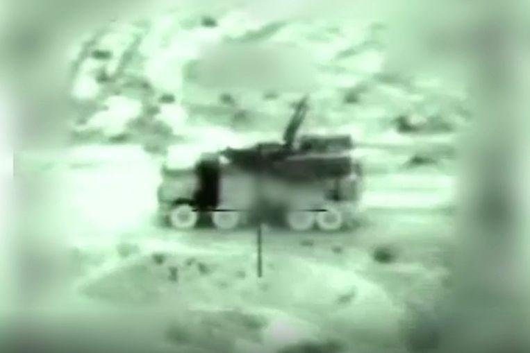 Beeld uit een door Israël vrijgegeven video van de aanval in Syrië Beeld Reuters