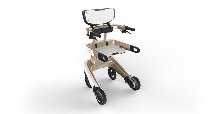 De Lea Care, een elektrische en zelfrijdende rollator tjokvol digitale snufjes. Beeld OBZRB fotografie