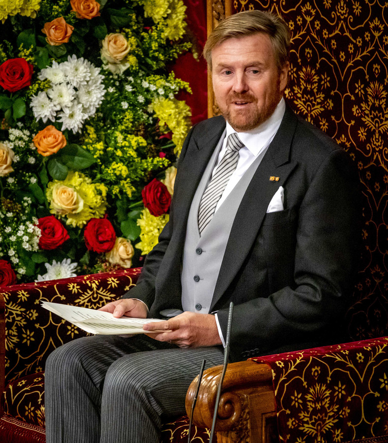 Koning Willem-Alexander leest op Prinsjesdag in de Ridderzaal de troonrede voor aan leden van de Eerste en Tweede Kamer