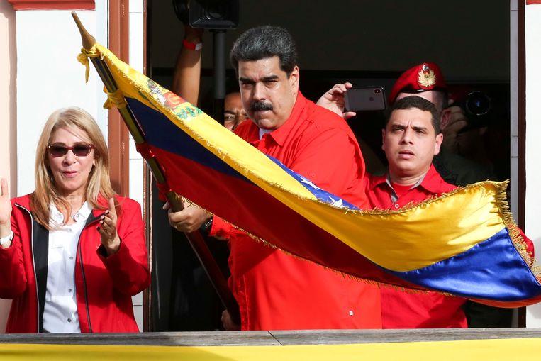 Nicolas Maduro bij een steunbetuiging in januari.  Beeld REUTERS