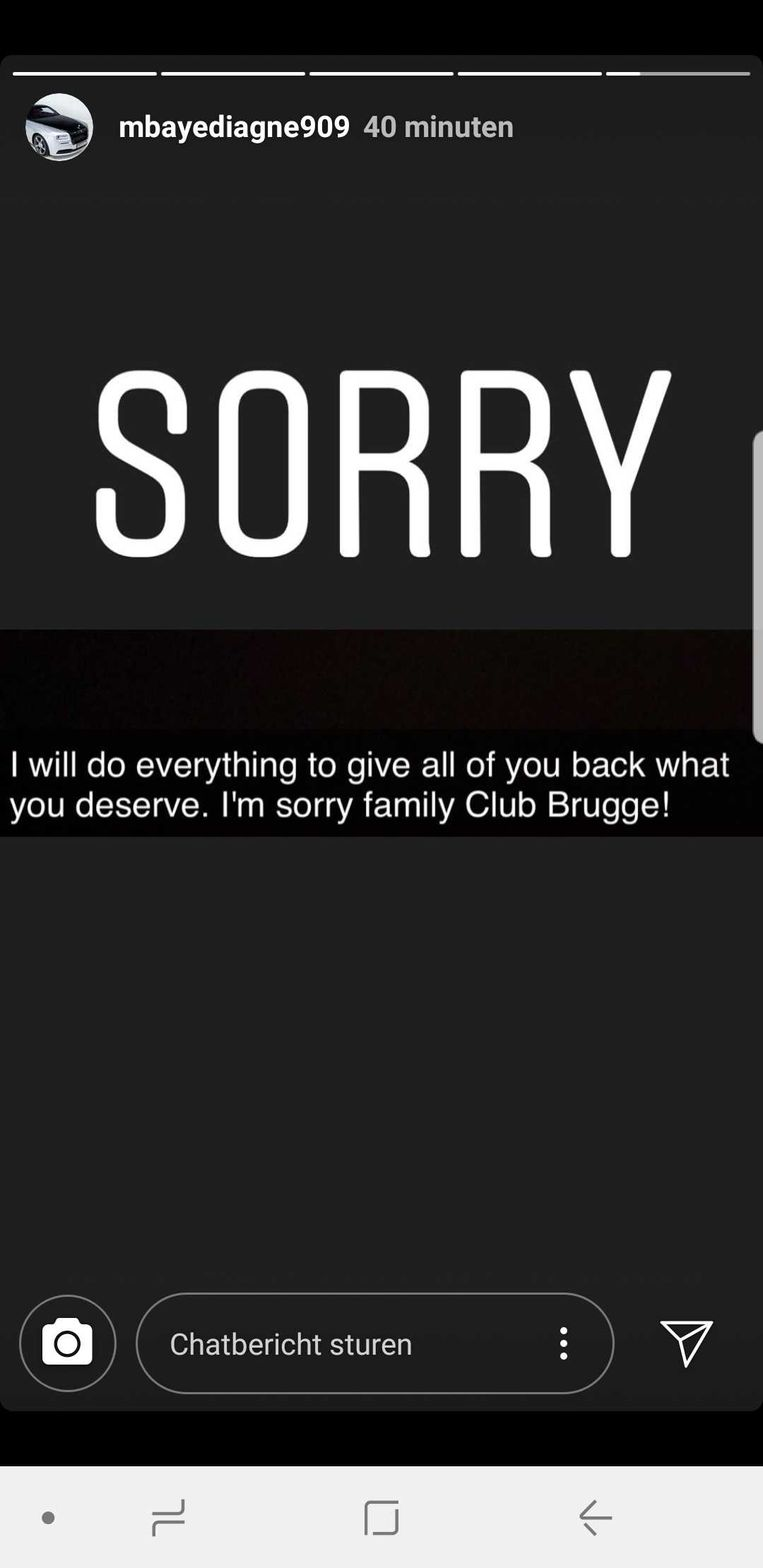 Mbaye Diagne verontschuldigde zich op Instagram.