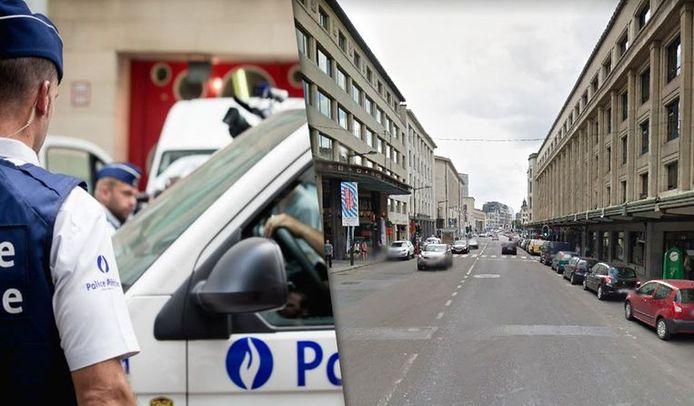 Photomontage: photo d'illustration belga, à gauche, et la rue Cantersteen où s'est produit l'accident, à droite (Google maps)