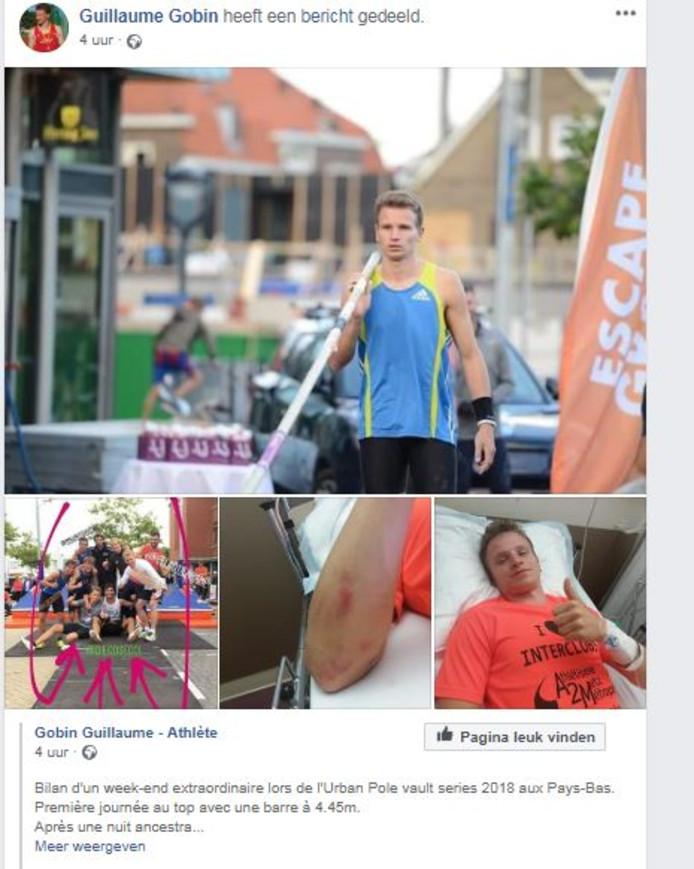 De Belgische polsstokhoogspringer Guillaume Gobin laat via Facebook weten dat het goed met hem gaat.