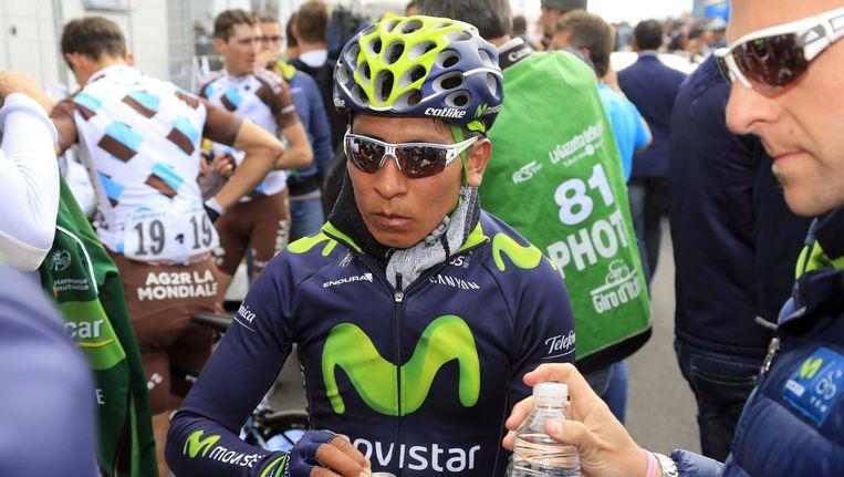 """Nairo Quintana ondervond in de tijdrit van gisteren hinder van de luchtwegen en moest over 42 kilometer 2'41"""" toegeven op ritwinnaar Rigoberto Uran."""