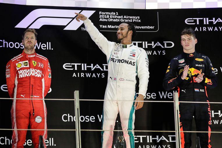 De grote drie v.l.n.r.: Sebastian Vettel, Lewis Hamilton en Max Verstappen
