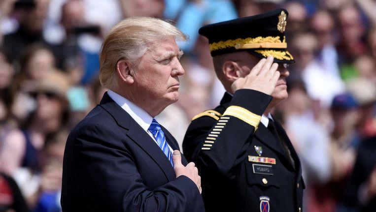President Trump maandag op Memorial Day. Beeld EPA