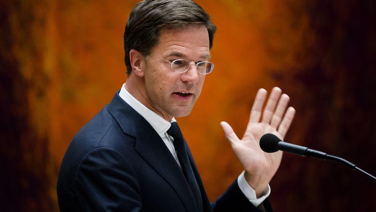 Premier Rutte maandagavond bij het Brexit-debat in de Tweede Kamer Beeld ANP