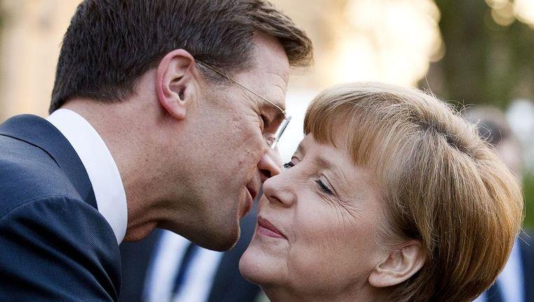 Premier Mark Rutte met de Duitse bondskanselier eerder deze maand tijdens de nucleaire top in Den Haag. Beeld afp
