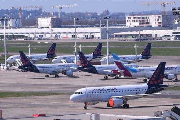 De vliegtuigen van Brussels Airlines op Brussels Airport.