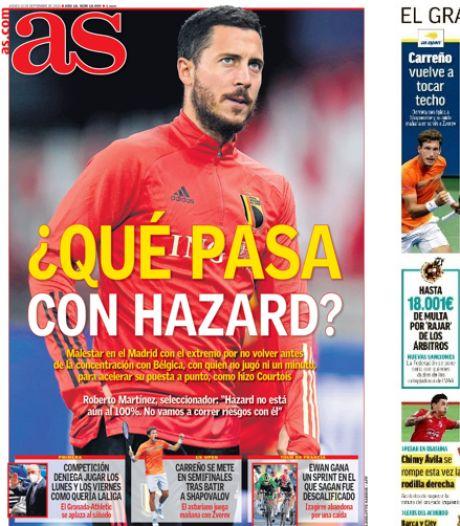 """""""Que se passe-t-il avec Eden Hazard?"""": le Diable Rouge fait la une des quotidiens madrilènes"""