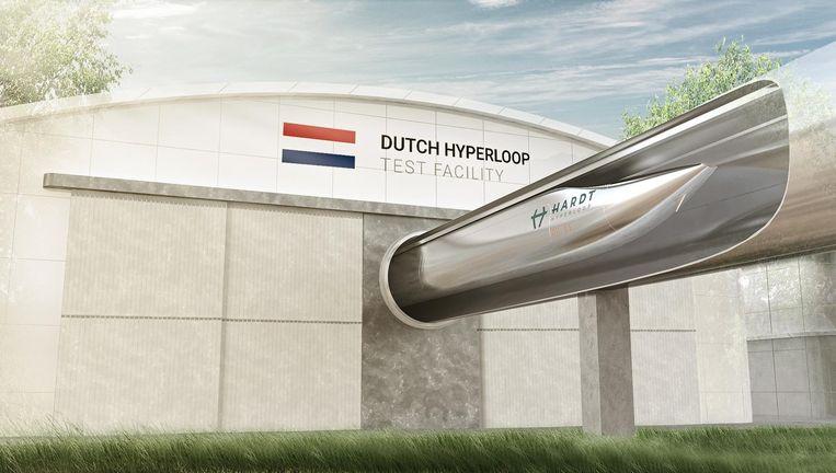 Opengewerkte impressie van een deel van het systeem dat Hardt Hyperloop wil bouwen tussen Schiphol en Frankfurt am Main Beeld Hardt Hyperloop