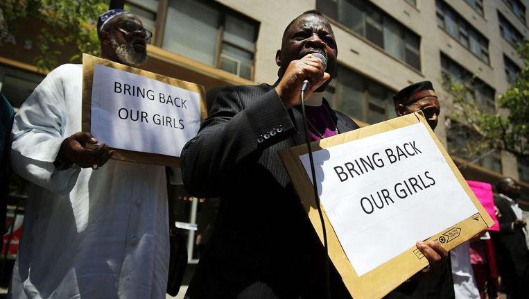 Demonstratie voor de veilige terugkeer van 200 schoolmeisjes, die Boko Haram ontvoerde. Beeld afp