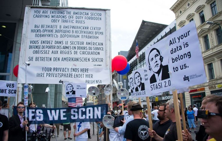 Demonstraties tegen de afluisterpraktijken van de NSA in juni Beeld ANP