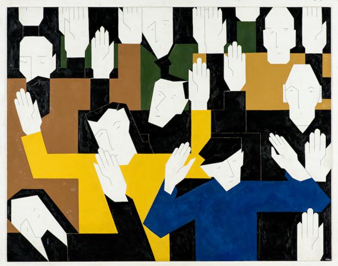 Hendrik Valk, Deportatie (De schuldelozen), 1960, olieverf op board, Joods Historisch Museum, Amsterdam