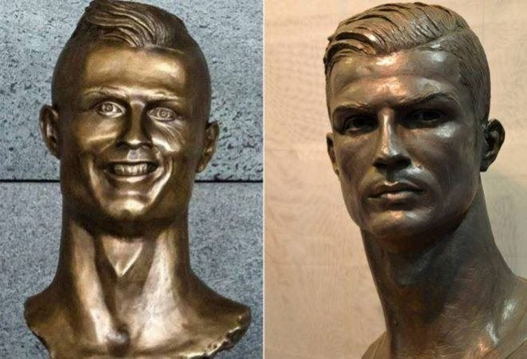 De beroemde beeldhouwwerker José Antonio Navarro Arteaga maakte een beter beeld van Ronaldo nadat het eerste (l) afgebroken werd na te veel kritiek.