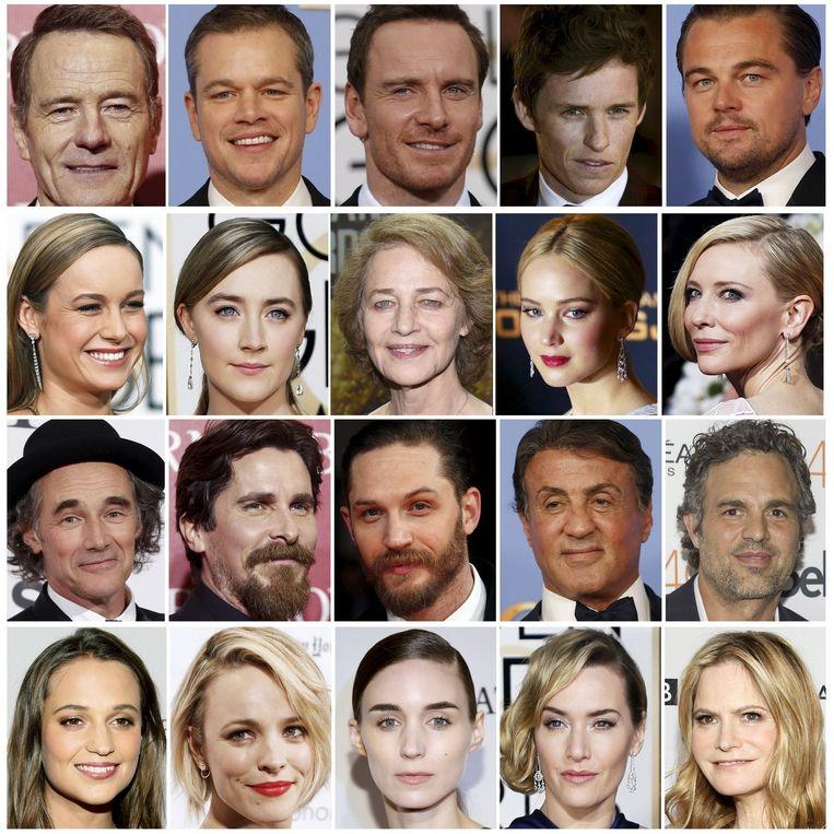 De genomineerden voor een Oscar afgelopen jaar: allemaal blank. Beeld Reuters