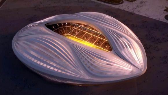Illustratie van het Al Wakrah-stadion, zoals ontworpen door architect Zaha Hadid.