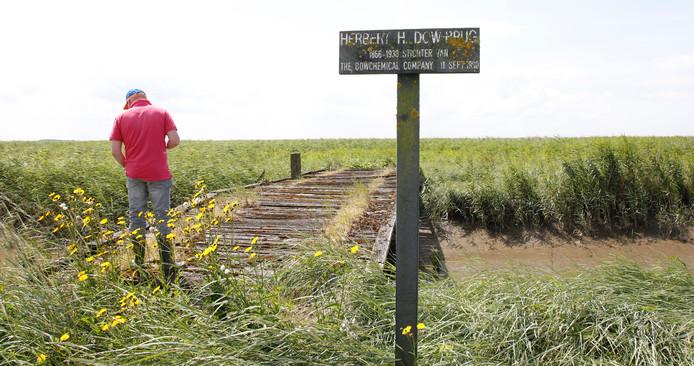 De Herbert H. Dowbrug is alleen heel voorzichtig over te steken. Niet over het midden lopen, want dan val je in de geul.