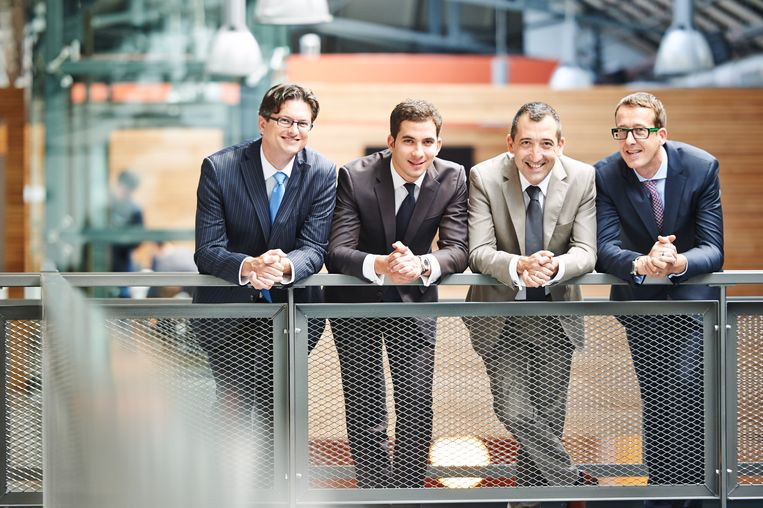De vier oprichters van  Edebex, vlnr: Jon McLennan, Aïssa Laroussi, Xavier Corman en David Van der Looven.