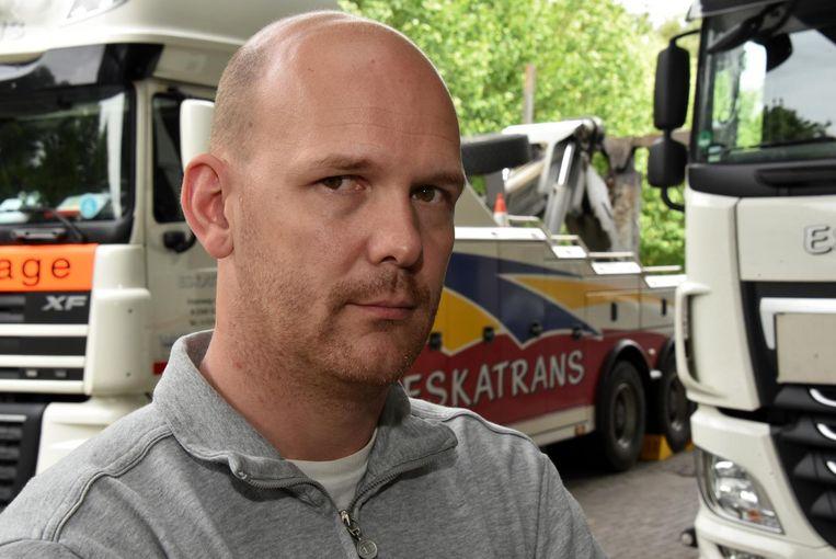 """""""Als er niets gebeurt, zie ik het voor mijn bedrijf en tal van andere transporteurs en kleine kmo's somber in"""", zegt Steven Meeus, zaakvoerder van Eskatrans in Turnhout."""