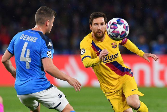 Messi tijdens het heenduel met Napoli.