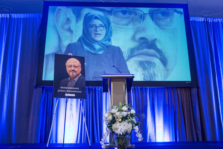 Een video van de speech van Hatice Cengiz over de vermoorde Jamal Khashoggi.