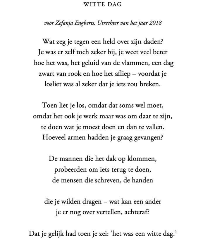 Het gedicht dat Ingmar Heytze speciaal schreef voor Zefanja Engberts.
