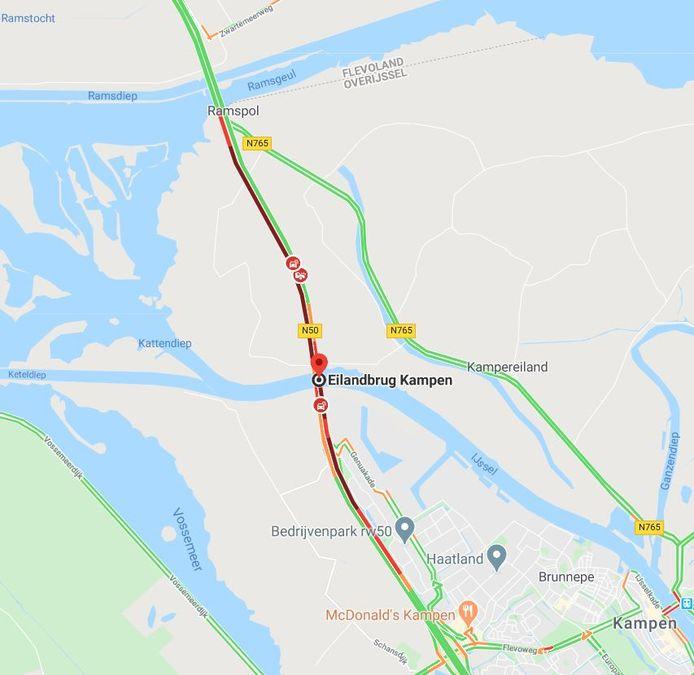File op de N50 vrijdagmiddag door een ongeval bij de Eilandbrug.