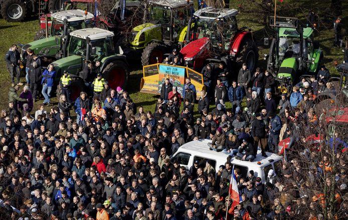 Boeren voeren actie op de Koekamp in Den Haag.