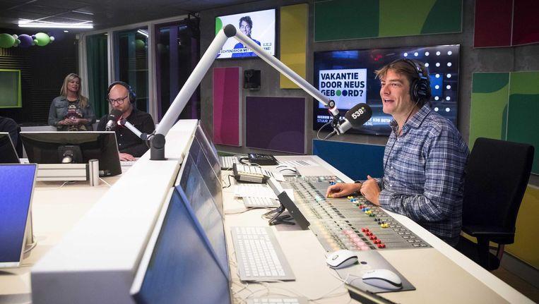 Frank Dane vanochtend tijdens zijn eerste uitzending Beeld ANP