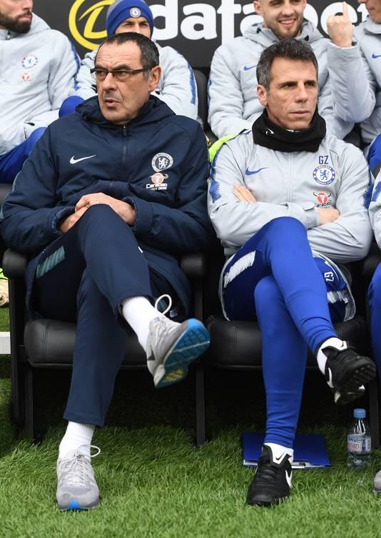 Maurizio Sarri (links) en Gianfranco Zola.