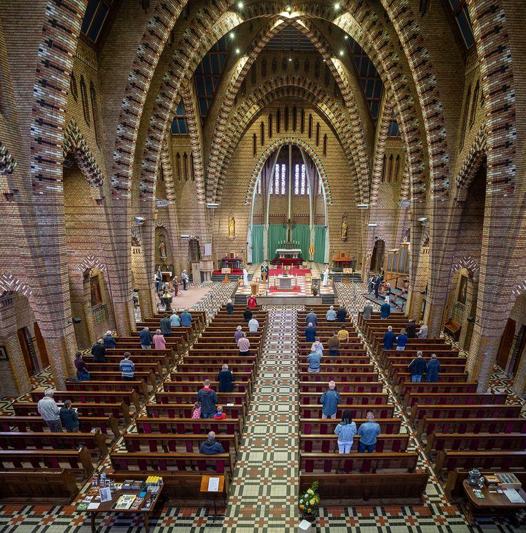 Kerkdienst met coronamaatregelen in Bolsward.  Beeld   Harry Cock / de Volkskrant
