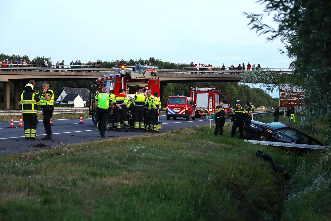 Ernstig ongeluk op A50 bij Ravenstein