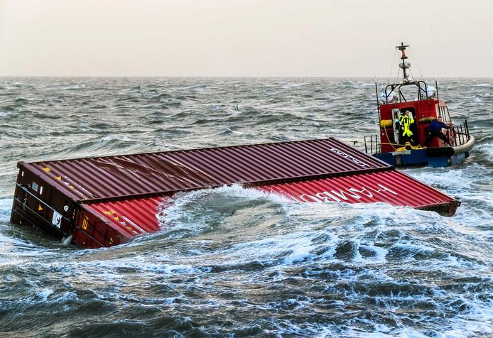 Containers in de Noordzee
