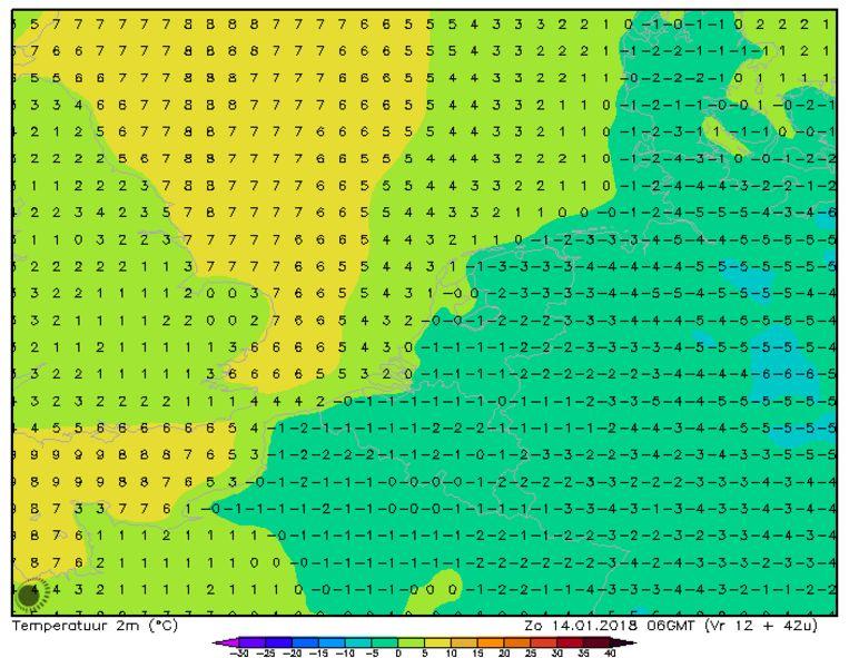 Minimumtemperaturen volgens het HIRLAM-weermodel voor de nacht van zaterdag op zondag.