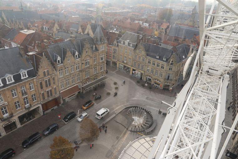 De Markt gezien vanop 55 meter hoogte.