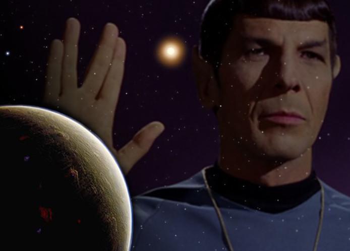 Een impressie van hoe Vulcan eruit zou kunnen zien (Inzet: Star Trek-karakter Spock)