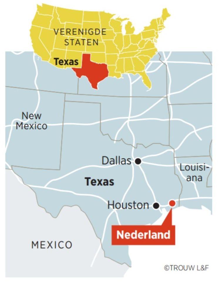 Nederland ligt zo'n 1,5 uur rechts van Houston. Beeld Trouw