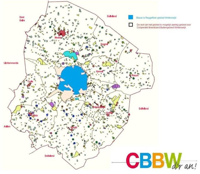 Een kaart op de site cbbw.nl toont dat er nu alleen glasvezel is aangelegd in Winterswijk zelf, het lichtblauwe gebied in het midden.