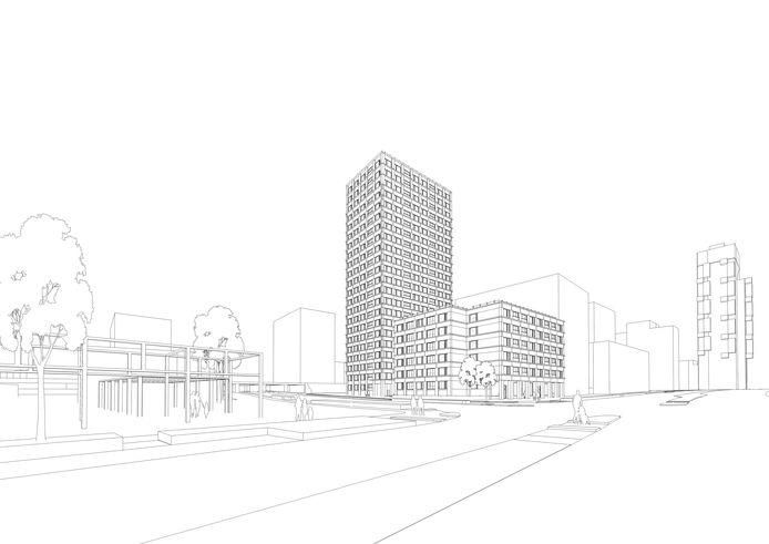 Schetsje van Talent Square 2, links de entree van het Spoorpark, rechts de Stadsheer.