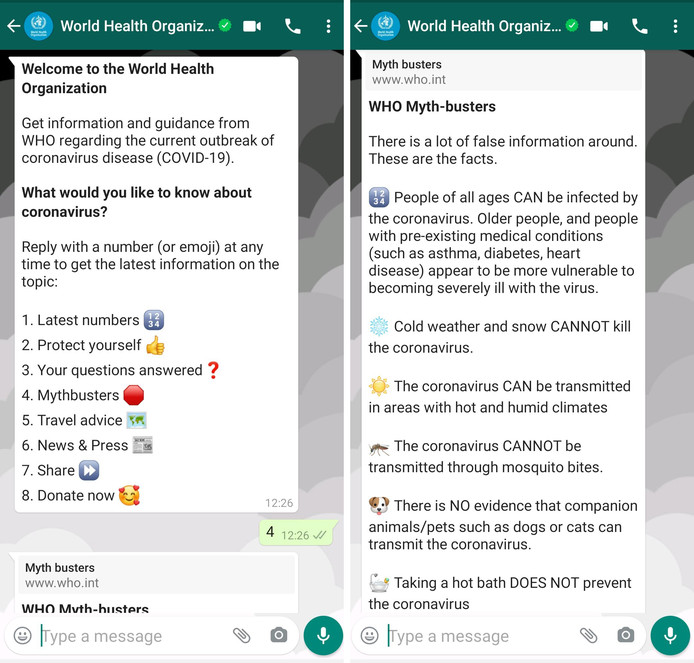 De chatbot van WHO op WhatsApp.