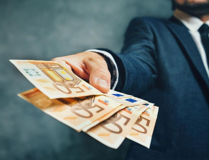 Hand met euros - geld - euro's