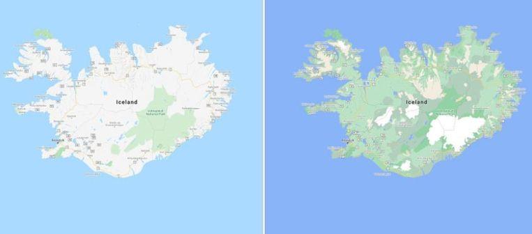 IJsland in de oude kleuren (links) en de nieuwe Beeld Google