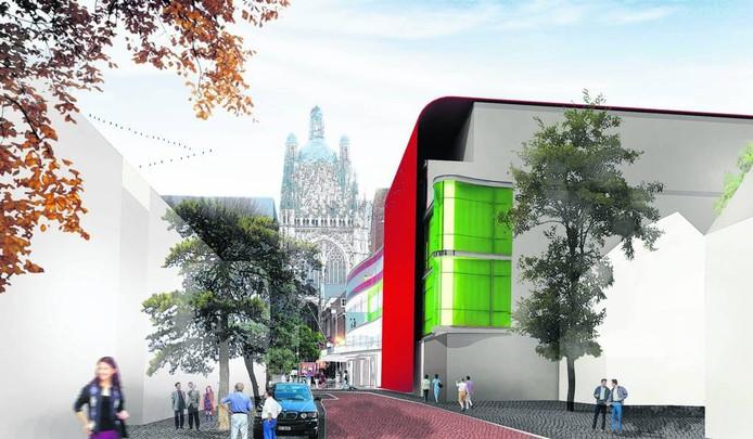 Een ruw schetsplan voor een nieuw theater aan de Parade met op de achtergond de Sint-Jan.