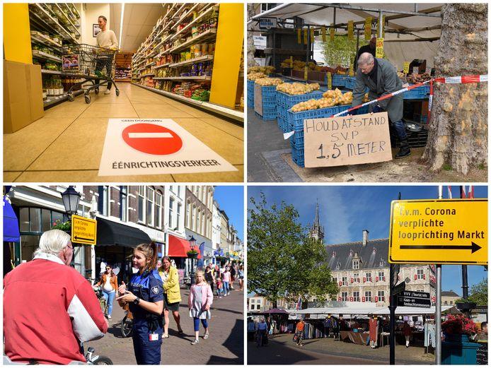Linksboven: eenrichtingsverkeer bij de Jumbo in Alphen. Rechtsboven: de warenmarkt in Woerden. Links- en rechtsonder: de Markt in Gouda.