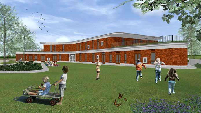 artist impression nieuwe brede school in Oud Gastel