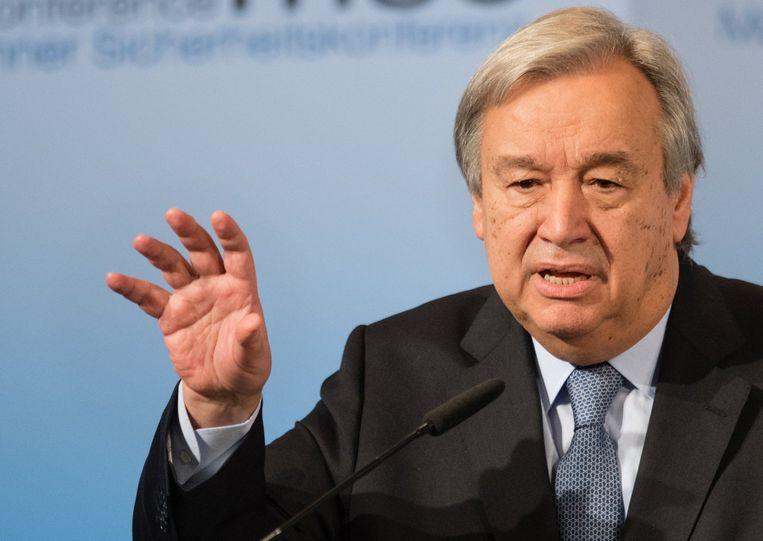 Antonio Guterres, de secretaris-generaal van de Verenigde Naties.