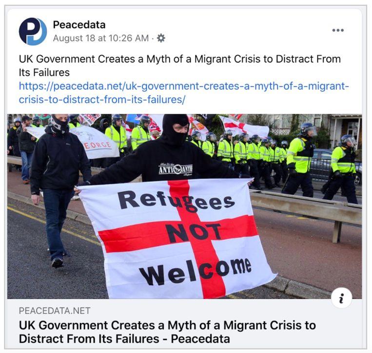 Een voorbeeld van desinformatie op Facebook door de website Peacedata.  Beeld facebook