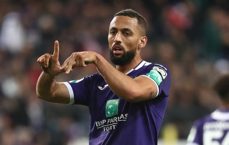 Anderlecht's Kemar Roofe celebrates after scoring during a soccer match between RSC Anderlecht and Sint-Truiden VV, Sunday 20 October 2019 in Brussels, on the eleven day of the 'Jupiler Pro League' Belgian soccer championship season 2019-2020. BELGA PHOTO VIRGINIE LEFOUR