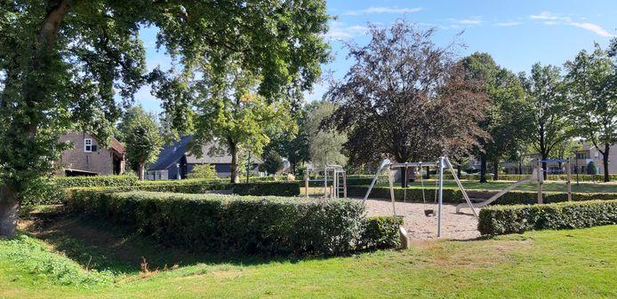 Links de nu nog droogstaande sloot en de oude haag, die straks bij de speeltuin betrokken worden. Daarmee komt er ook een verbinding tussen de speeltuin en de dierenweide.